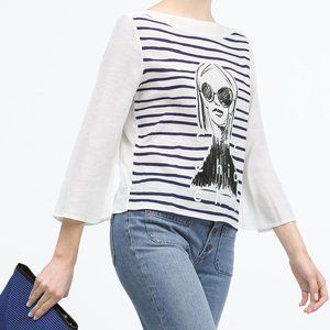 Zara White Doll & Text T-shirt Small